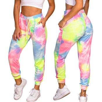 2020 Fashion Women Tie Dye Jogger Sport Pants Casual Printed Elastic Waist Harem Pants Loose Pants Drawstring Trousers D30