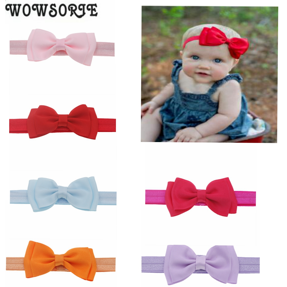 Baby Headband Girl Flower Mini Satin Ribbon Double Layer Bow Newborn Elastic Flower Hair Band Children Girls Hair Accessories