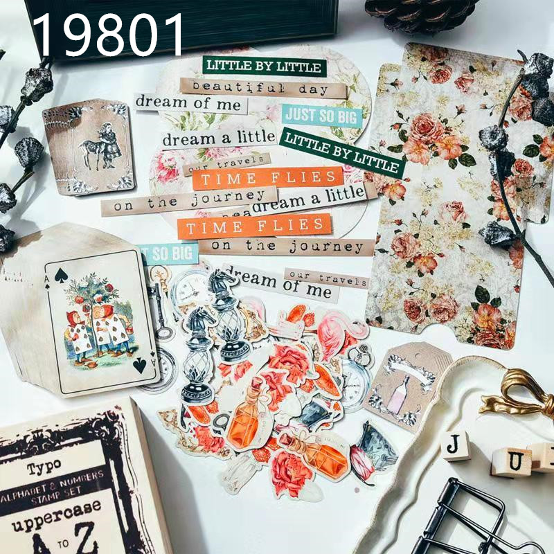 51 Sheets\Pack Of Retro Alice Series Poker\Kraft Tag\Flamingo\Envelope Vintage Flower English Phrase Planner DIY Card Production