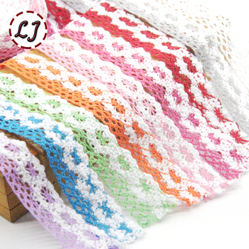 5yd/lot 25mm colrful lace fabric ribbon cotton lace trim sewing material for home garment accessories DIY image