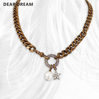 2019 Valentine's Day Gift Women Girls Jewelry Retro Luxury Letter Chain Pearl Star Tag Necklace Fashion Wedding Gift
