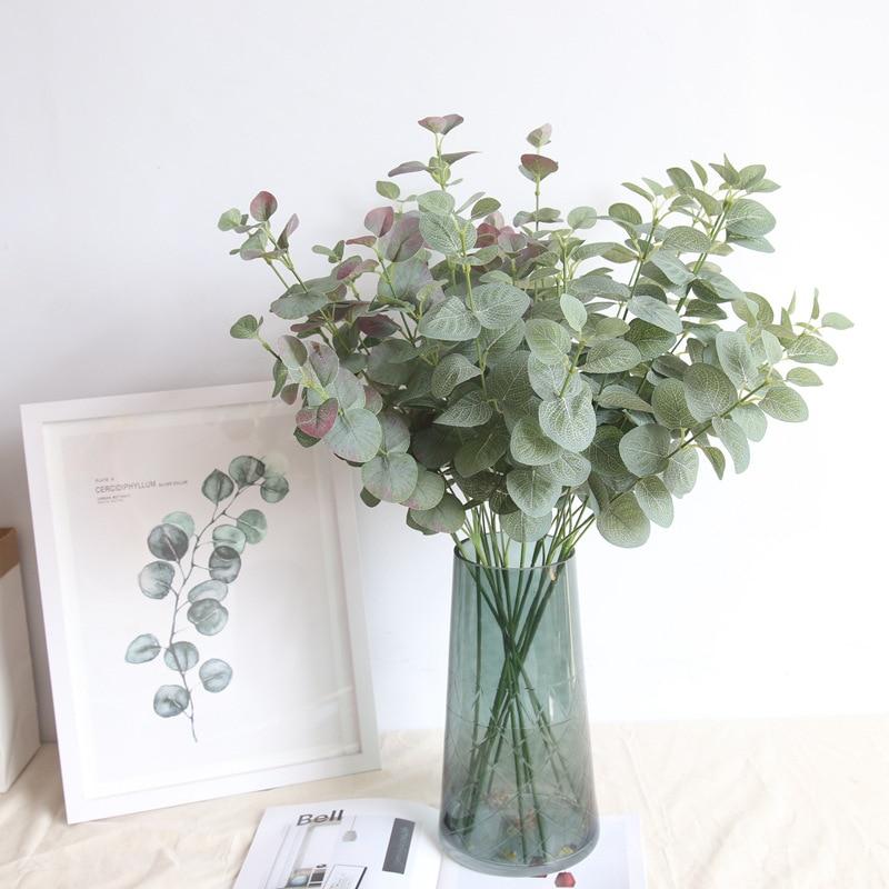 1.99US $ 30% OFF 1pc Artificial Eucalyptus Leaves Branch Retro Green Silk Leaf for Home Decor Weddin...