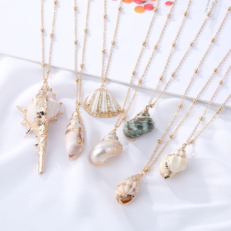 EN Fashion Boho Conch Shell Necklace Shell Gold Chain Necklace Women Seashell Choker Necklace Pendants Jewelry Bohemian Female