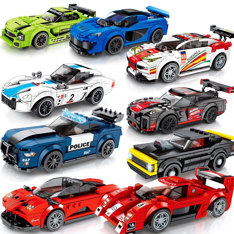 Speed Champions Compatible Technic City Vehicles Super Racers Sports Racing Car Model Building Blocks Kids Toys Friends image