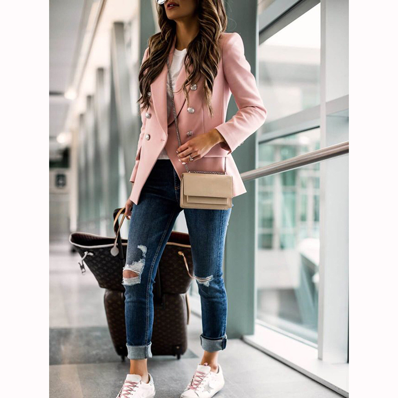 Plus Size S-3XL Women Pure Slim Double Breasted Buttons Long Sleeve Blazers Office Ladies Business Casual Elegant Suits SJ4454Y