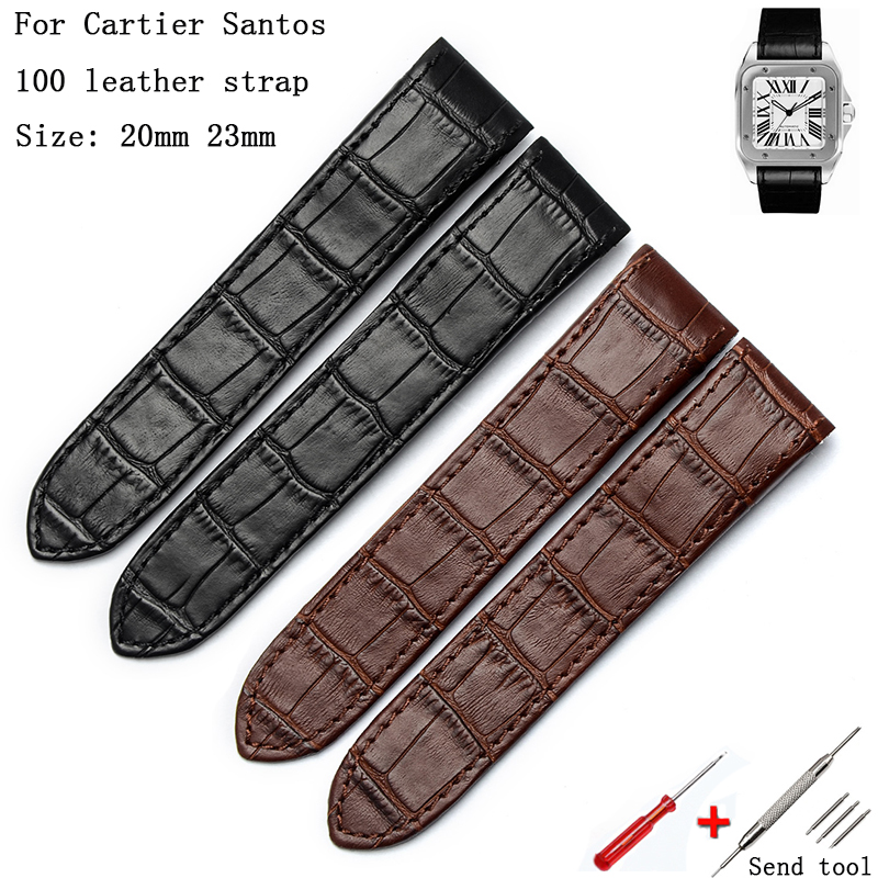 Watch Accessories 20mm 23mm For Cartier Leather Strap Santos100 Men's And Women's Sports Leisure Business Leather Strap