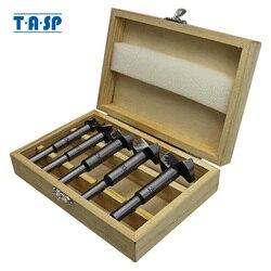 TASP 5 قطعة الخشب فورستنر مجموعة لقمة مثقاب النجارة الذاتي توسيط نصل منشار قاطع مجوف الطاقة أدوات اكسسوارات مع صندوق تخزين