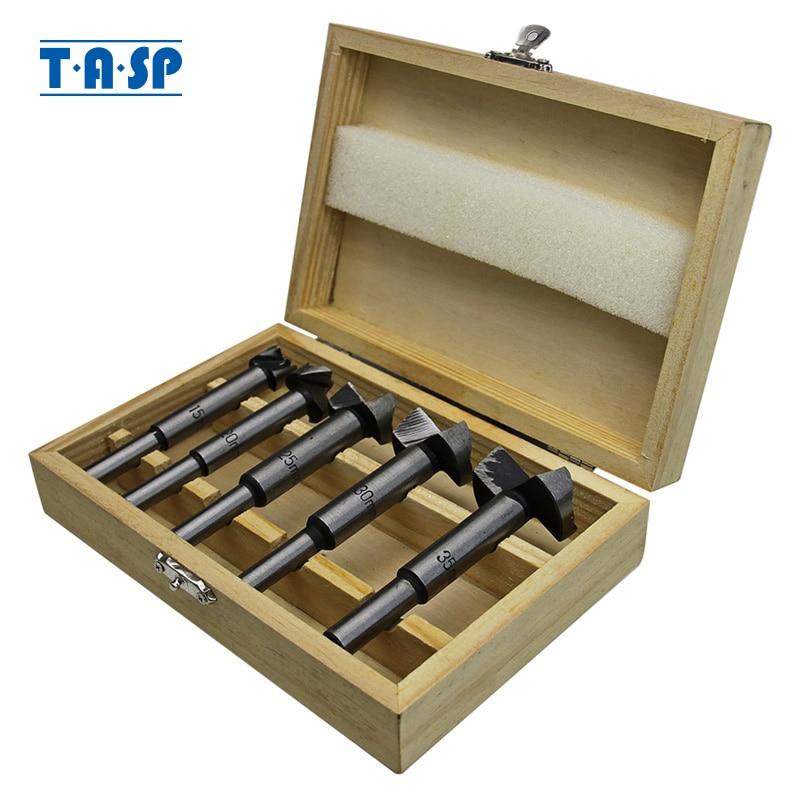 TASP 5pcs Juego de brocas de madera Forstner para trabajar la madera Agujero autocentrante Cortador de sierra Herramientas eléctricas Accesorios con caja de almacenamiento