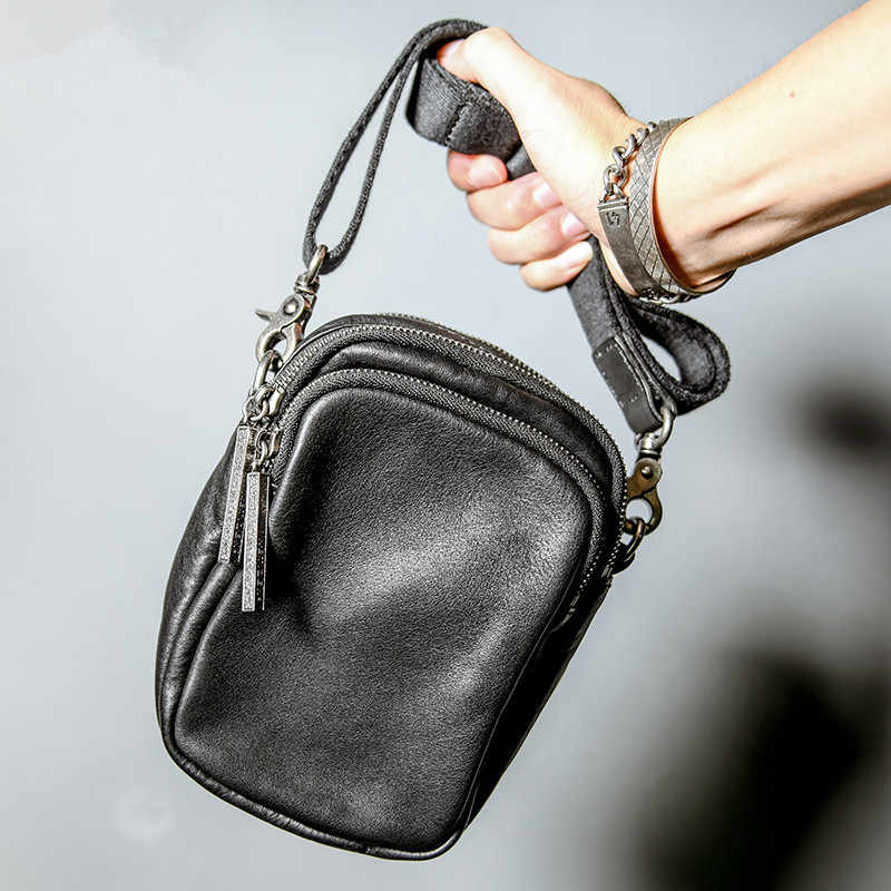 Повседневная мужская маленькая сумка-мессенджер из натуральной кожи, простой модный светильник из натуральной мягкой воловьей кожи, черная сумка на плечо для подростков