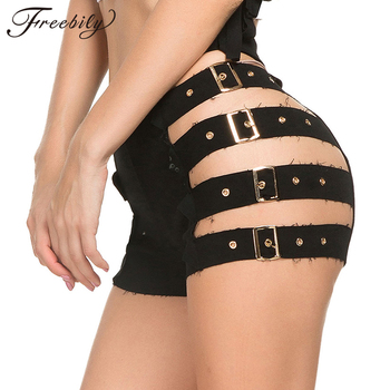 Fashion Mini Short Sexy high waist Shorts Women Side Hollow Out with Buckle Belt Pencil Summer Party Bar Club Hot - discount item  22% OFF Shorts