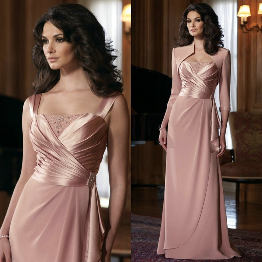 The Best Selling Floor Length With Jacket Mother Of The Bride Free Shipping 2015 New Wedding Party Dress