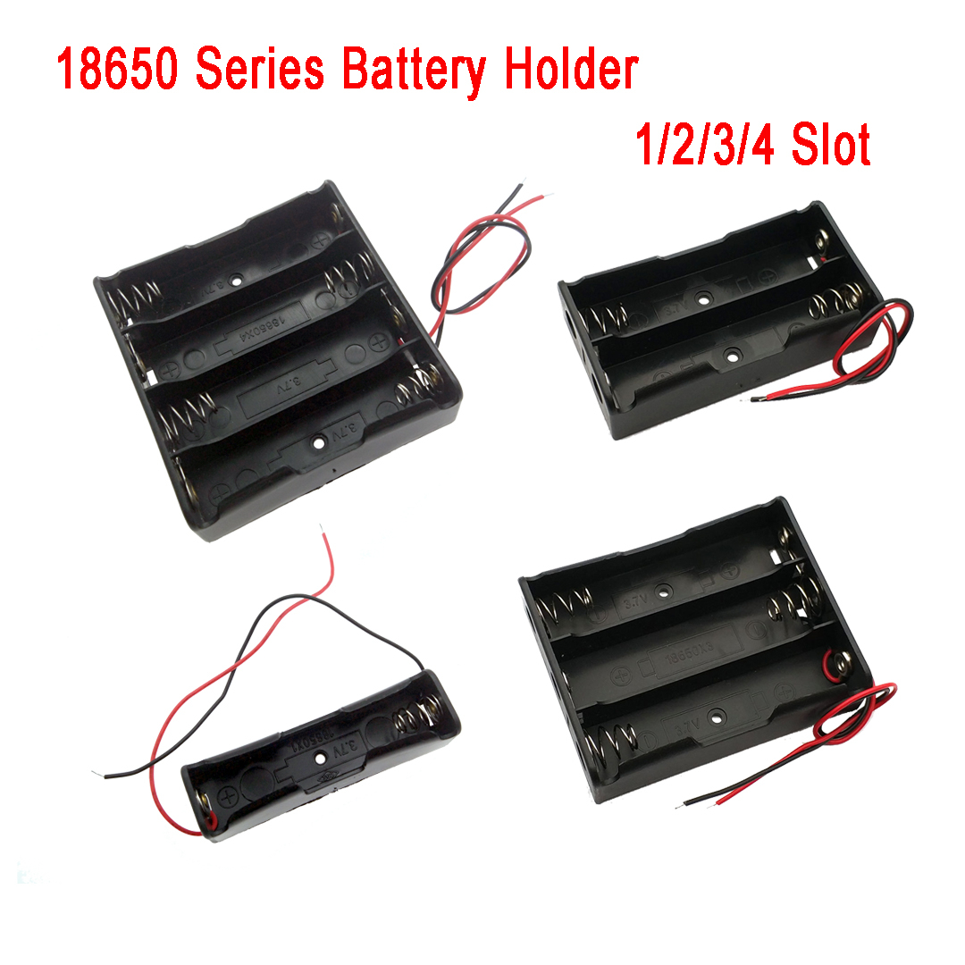 1Pcs 18650 Battery Storage Box Case DIY 1/2/3/4 Slot Way DIY Batteries Clip Holder Container With Wire Lead Pin
