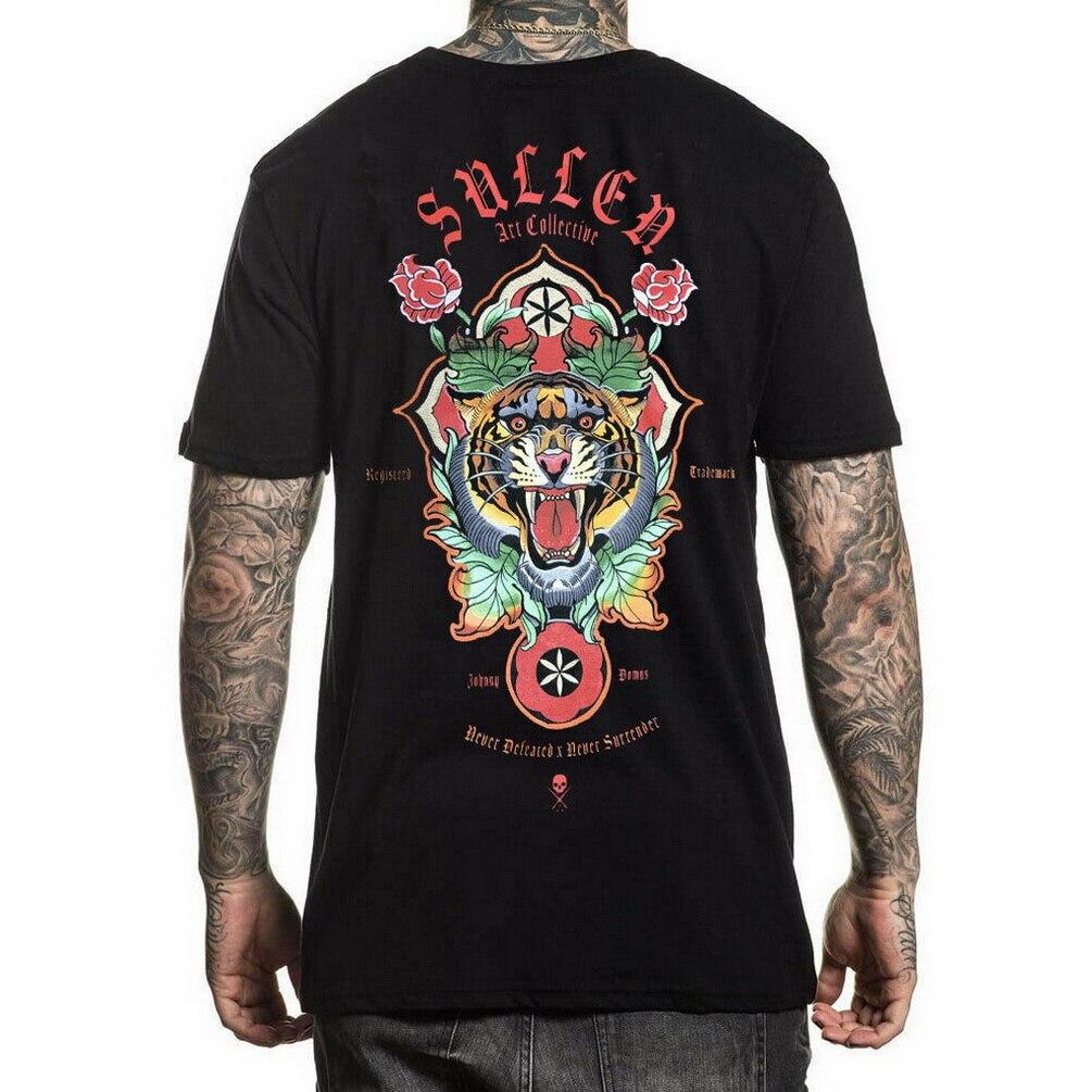 Sullen Men's Bangal Short Sleeve T-Shirt Black Clothing Johnny Domus Tattoo Tees TEE Shirt Free Shipping Light(China)