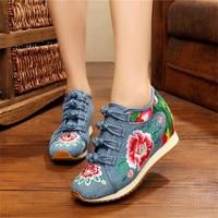 Nowa wiosna damski kwiat haftowany płaski obcas buty chińskie panie dorywczo komfort Denim tkaniny trampki buty dfv56 w Damskie buty typu flats od Buty na