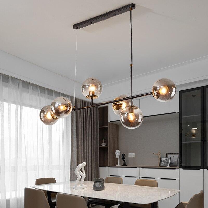 Nordic designer gold black Luxury pendant lights living room decoration Smoke Grey Glass pendant lamp bedroom lighting fixtures