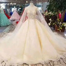 LSS245 pure new wedding gowns detachable sleeves lace up v-back wedding dresses champagne from real factory free shipping(China)