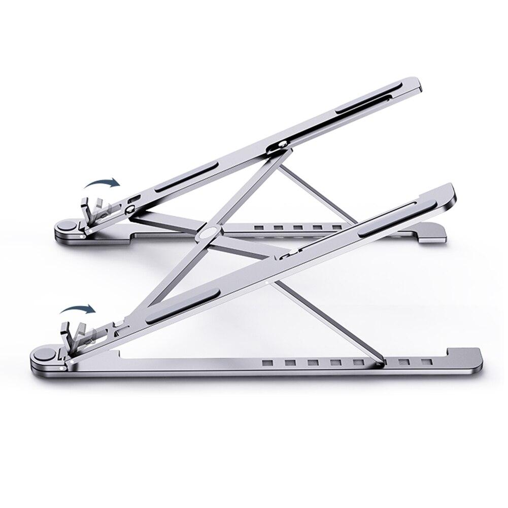 Support d'ordinateur Portable Portable hauteurs Angle réglable en aluminium AlloyDesktop ventilé support étagères de refroidissement se pliant Ultra pour MacBook