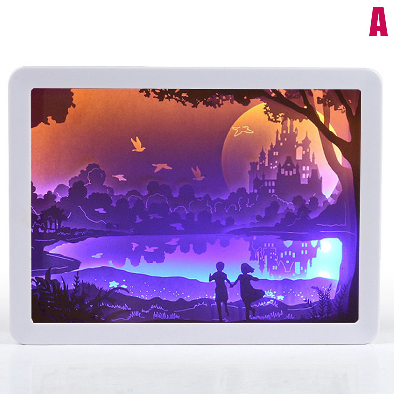 3D Night Lamp Paper Pattern Painting LED Table Shadow Box Frame Party Home Decor SLC88