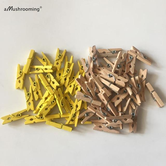 25mm MINI WOOD WOODEN PEGS NATURAL CRAFT WEDDING CLOTHES PIN LINE PHOTO BABY