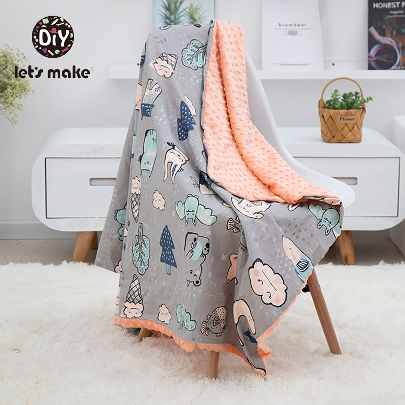 Let's Make Baby Blanket 1PC Muslin Squares Swaddle Wrap Fiber Newborn Soft Cartoon Unicone Beanie Knitted Children's Blanket