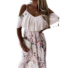 2021 Boho Dress Women Spring V Neck Ruffle Slin Party Dress Summer Retro Floral Print Off Shoulder Maxi Beach Dresses Vestidos