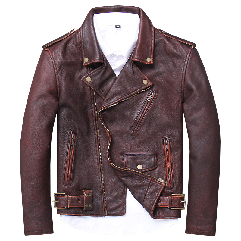 Free Shipping.Brand Men Cowhide Jacket,men's Vintage Genuine Biker Jacket.homme Plus Size Leather Coat,sales