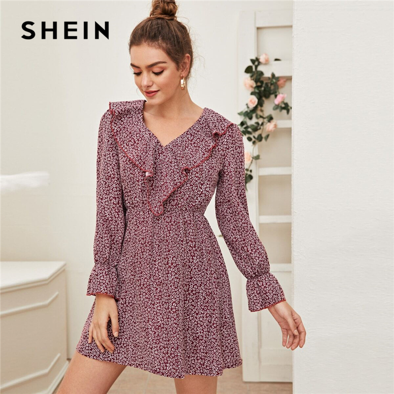 SHEIN Burgundy Ditsy Floral Print Ruffle Trim Dress Women Spring Long Sleeve V Neck High Waist Casual Boho Flared Dresses 1