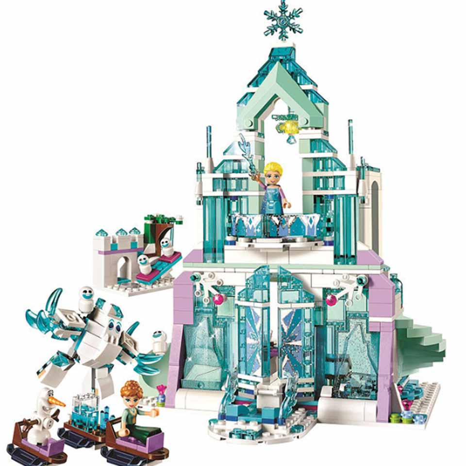 Free shipping Girl Friends legoinglys Friends 41148 Dream Princess Elsa Ice Castle Princess Anna Building Blocks Toys Gift