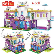 NEW Private Luxury Villa Building Blocks Compatible Lepining Friends Castle Bricks Girls Princess House Toys for Girls 961PCS 983pcs harri castle hall hogwartse express building blocks educational toys compatible with lepining friends city