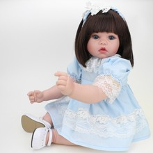 20'' 50cm bebe Reborn Baby Dolls Alive silicone Dolls Realistic Straight hair Babies Girl Toys Christmas Gift wiht a blue dress npkcollection reborn baby alive lovely premie bebe new born dolls realistic baby playing toys for kids birthday christmas gift