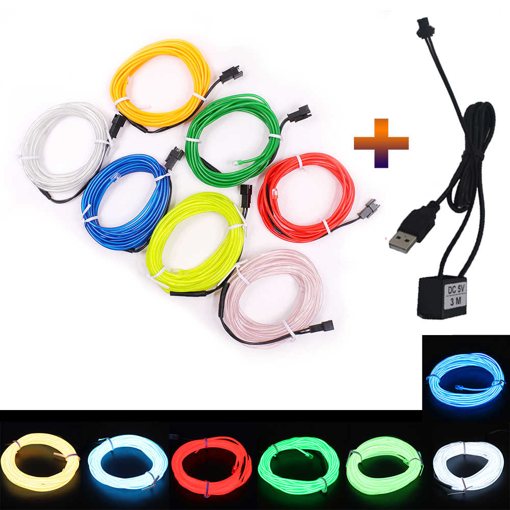 1M 3M 5M 5V USB EL Wire Flexible Glow EL Wire Tape Tube Strip LED Neon Lights Shoes Clothing Car Waterproof Led Strip 2019 New