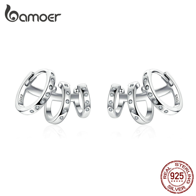 BAMOER Ear Cuff Genuine 925 Sterling Silver Punk Tirple Circle Hoop Earrings For Women Ear Clips Chic Fashion Jewelry BSE085