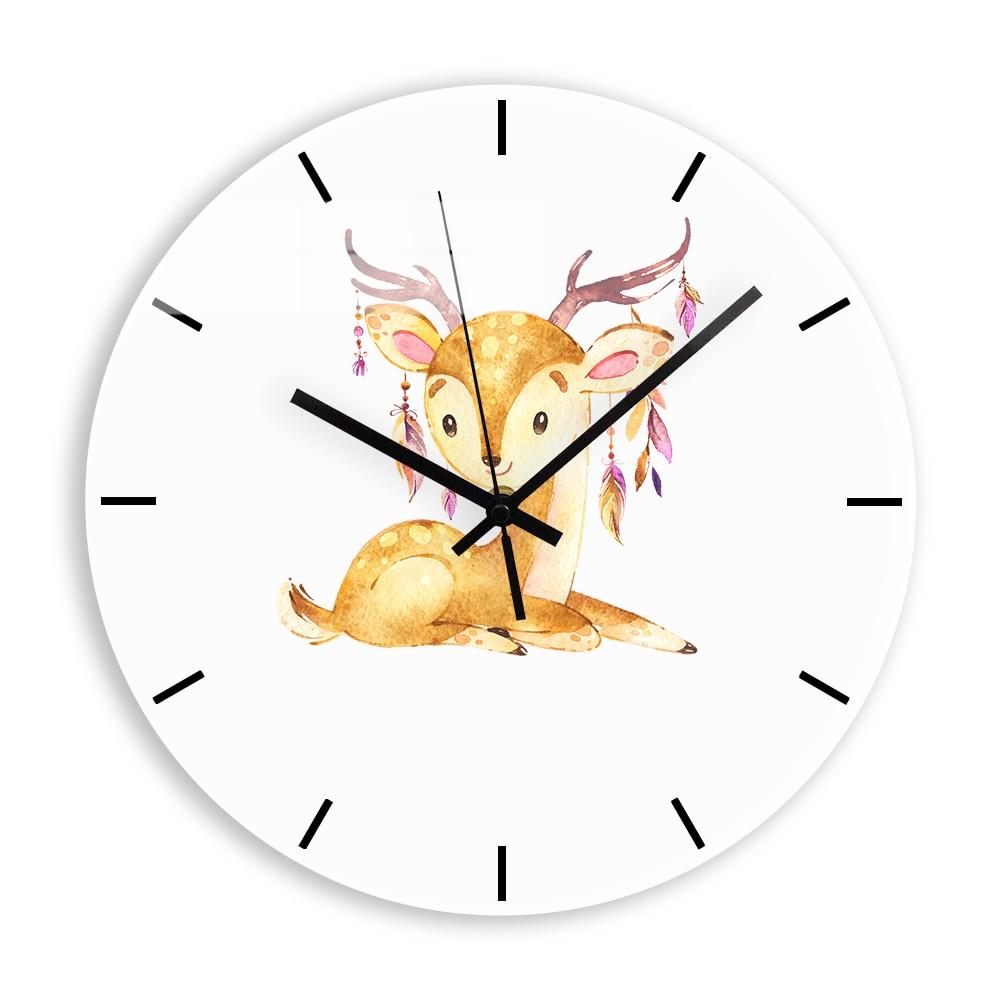 Cartoon Deer Acrylic Wall Clock Modern Design Cute Elk Living Room Decorative Clocks + Silent Quartz Clock Mechanism Home Decor