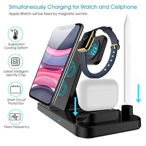 Image 4 - DCAE Wireless Charger QI 4 in 1 10W Fast Charging Dock Station for Apple Watch 5 4 3 2 Airpods Pro iPhone 11 XS XR X 8 Stand Pad