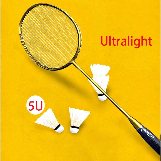 5U 100% Carbon Badminton Rackets Good Elasticity Fiber Ultra-light Badminton Racquet Professional Match Training Sports With Bag