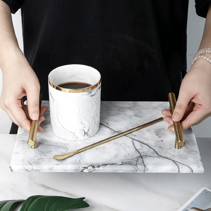Nordic Style Gold-Plated Handle Ceramic Marble Tray Storage Tray Storage Board Cake Dessert Plate Sushi Plate Jewelry Display Tr
