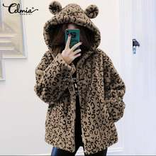 Celmia Women Overcoats Winter Warm Thick Coats 2020 Casual Long Sleeve Loose Pockets Femme Leopard Printed Plush Jackets S-5XL(China)