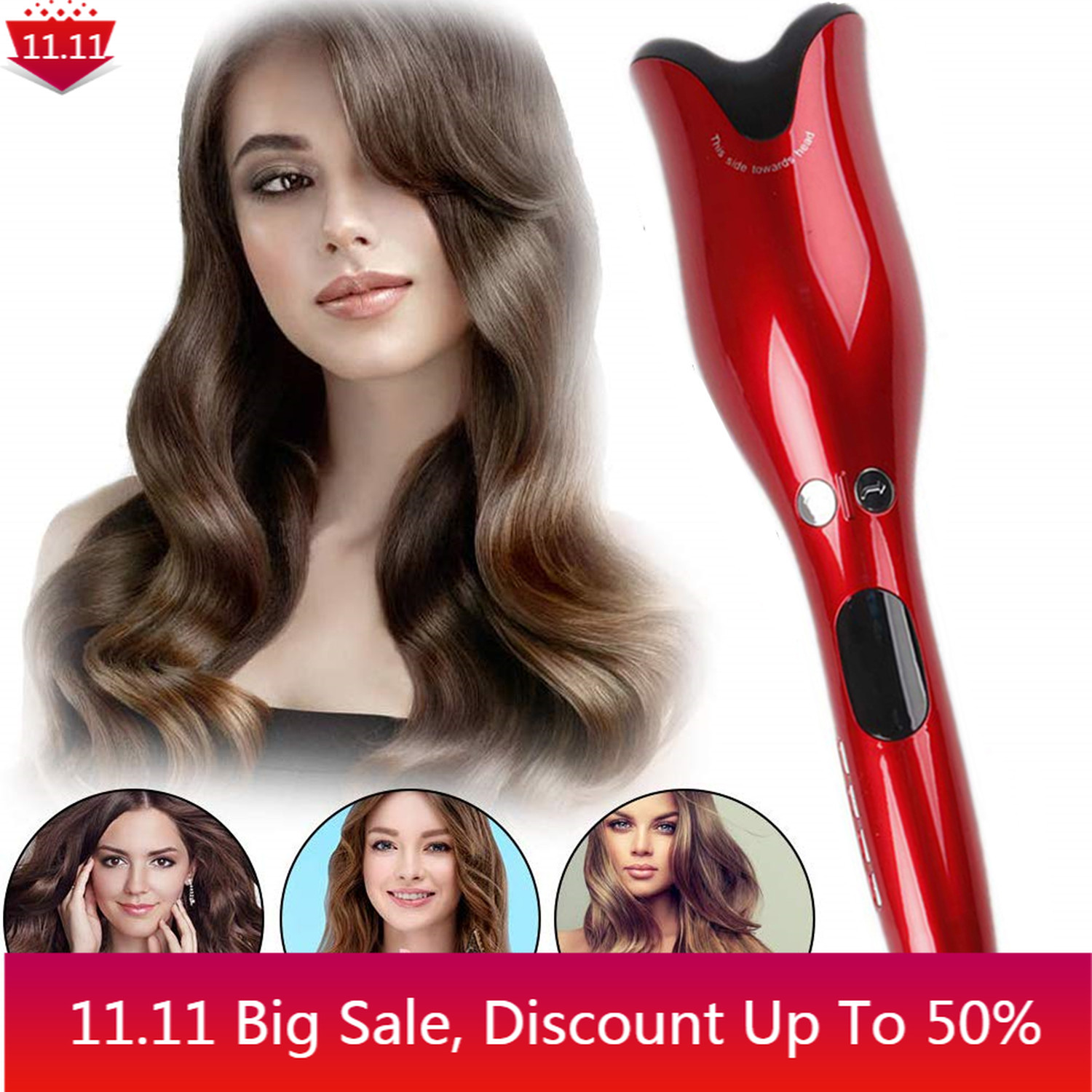 Hair Curling Iron Automatic Hair Curler Ceramic LCD Screen Curling Wand Hair Waver Crimper Hair Tool Air Spin and Curl Curler
