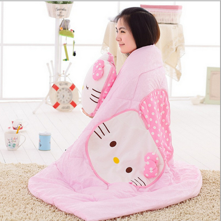 Cartoon Hello Kitty Pure Cotton Airable Cover Dual Purpose Pillow Blanket hello kitty Office Car Mounted Summer Blanket