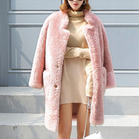 100% Real Fur Coat Winter Women High Quality Fashion Long Sleeve Female Outerwear Warm Winter Coat Jacket Thick Plus Size Coats