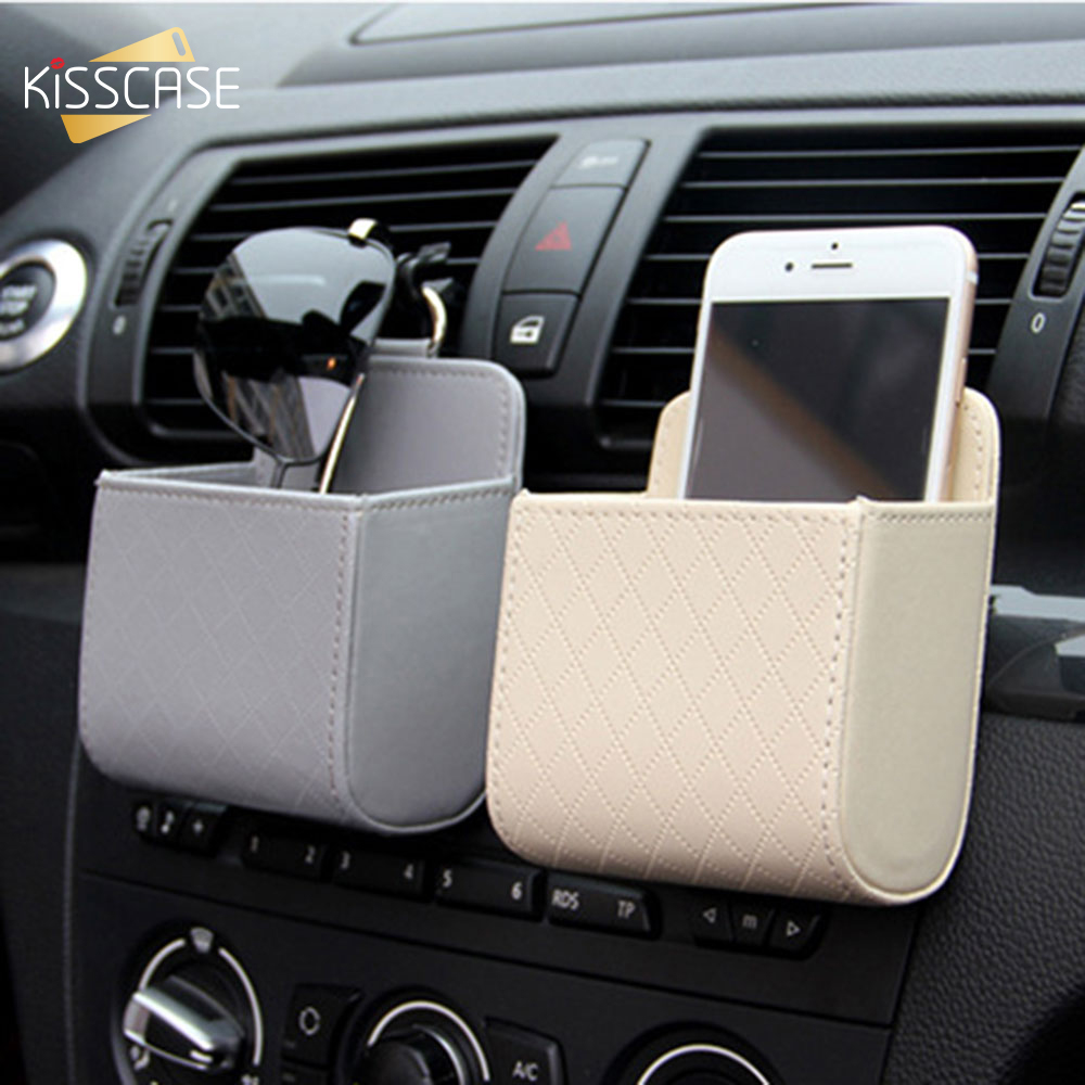 KISSCASE Luxury PU <font><b>Leather</b></font> Mobile Phone <font><b>Case</b></font> For Xiaomi Samsung <font><b>iPhone</b></font> Universal Car Air Outlet Storage Bag <font><b>Case</b></font> Accessories image