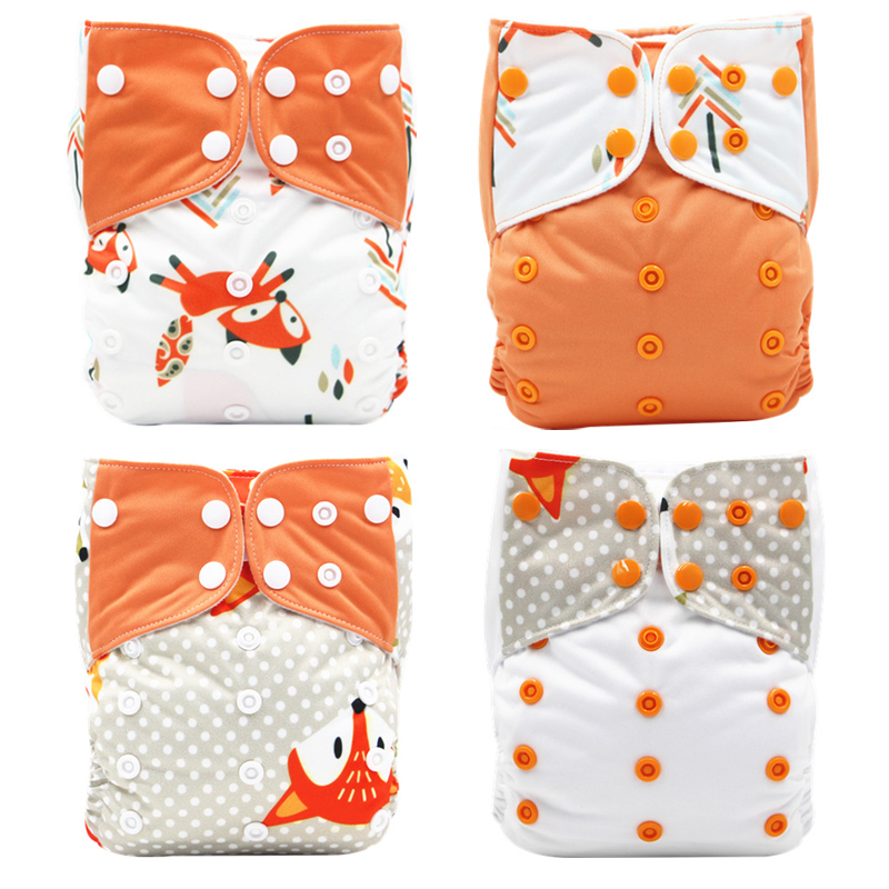 4PCS Set Baby Diapers Washable Reusable Nappies Bamboo Insert Waterproof PUL Double Row Snap Infant Baby Cloth Diaper One Size