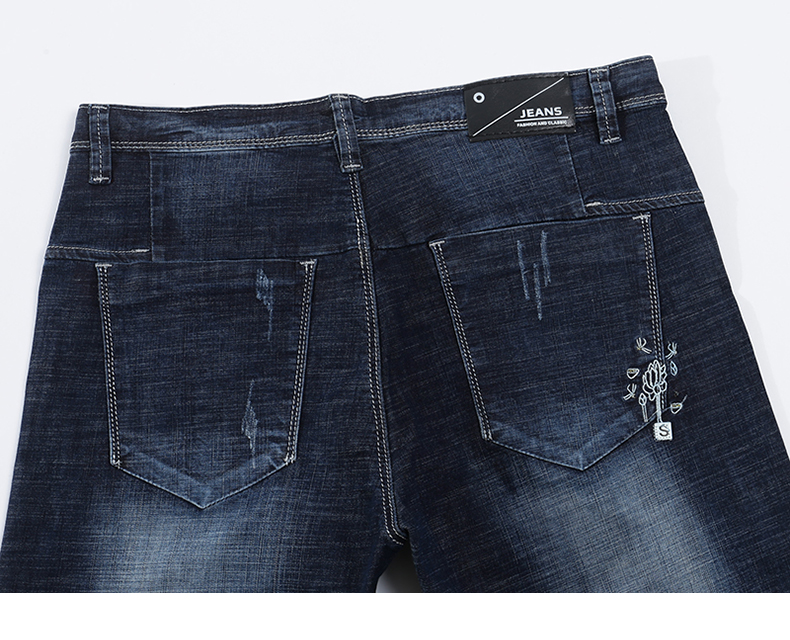 KSTUN Men Jeans Stretch Dark Blue Slim Fit Ripped Biker Jeans Man Casual Patchwork Hip hop Mens