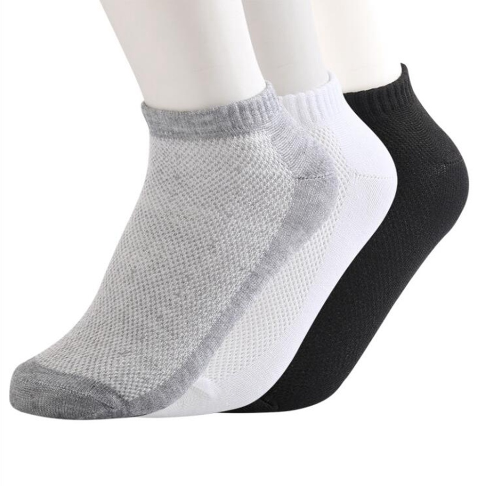 1 Pair Men's Boat Socks Summer Polyester Cotton Breathable Socks Mesh Socks Low To Help Stand Foot Bath Socks