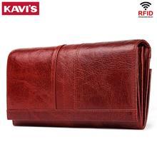 KAVIS prawdziwej skóry damska długa torebka kobiet sprzęgła portfele torebka poręczny paszport walet dla etui na karty do telefonu komórkowego