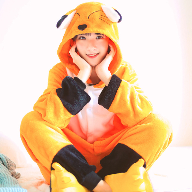 Fox Onesies For Adults Animal One-piece Pajamas Women Pijamas Men Overall Halloween Party Jumpsuit Cartoon Cosplay Costume