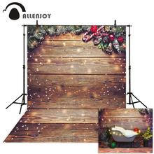 Allenjoy Christmas background photography Snowflake board Pine Tree brown wooden children photos camera fotografica backdrop