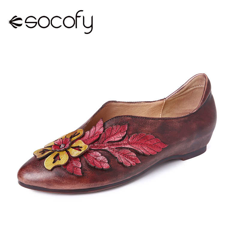 SOCOFY Retro Rainforest Splicing Floral Leaves Irregular Shoe Mouth Leather Comfy Flat Shoes Women Shoes Botas Mujer 2020