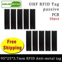 Uhf rfid anti-metal tag 915m 868m 50 pçs frete grátis ativos fixos gestão 95*25*3.7mm grande retângulo pcb passiva rfid tags