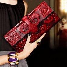 Carteira mulher 2019 temperment banquete mão tomar longo fundo atmosfera carteira de couro genuíno portfel bolsa noite bolsa feminina